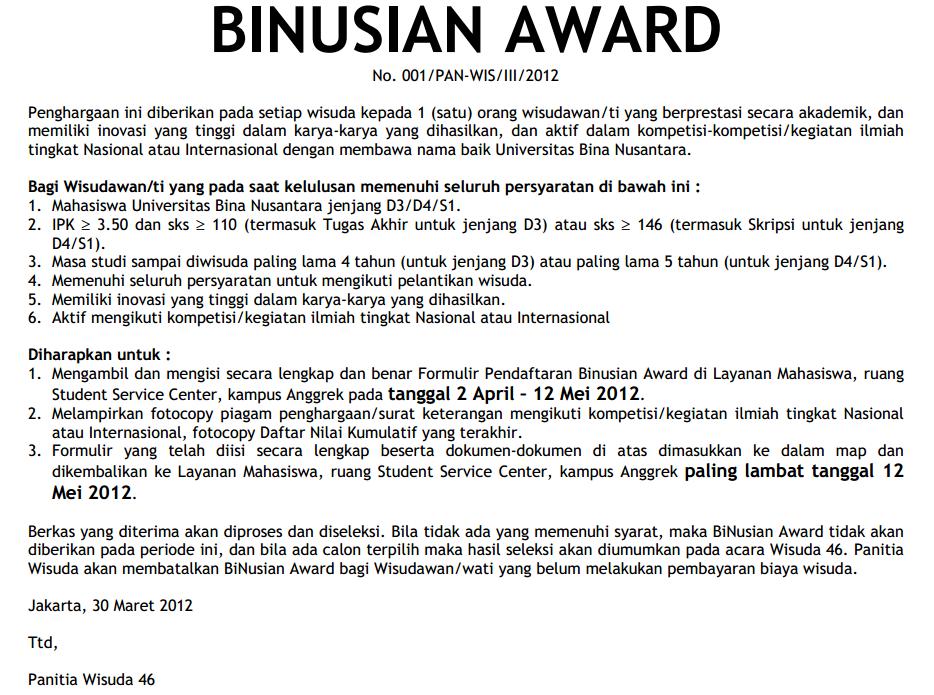 Binusian Award Wisuda 46