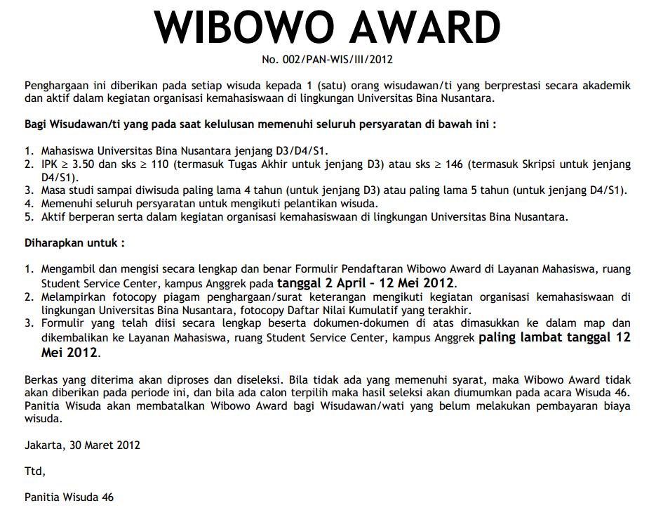 Wibowo Award