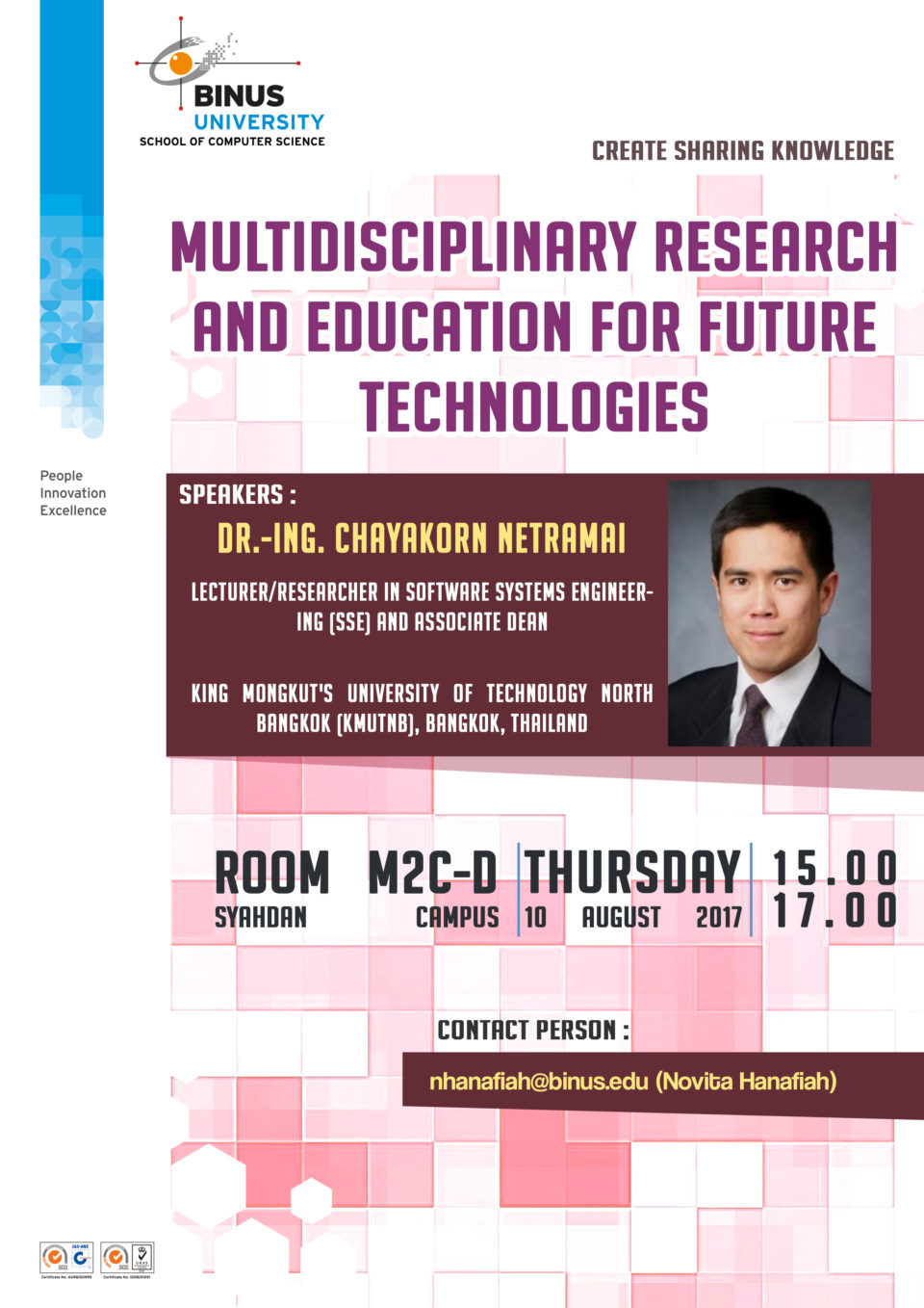 Create Sharing Knowledge : Multidisciplinary Research and Education for Future Technologies