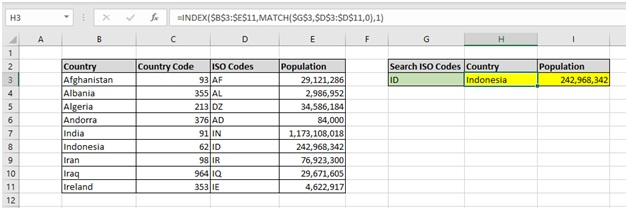 Formula Index pada Excel